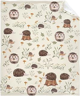 """刺猬可爱林地动物毯子柔软法兰绒轻质羊毛个性化投掷毛绒温暖舒适床上用品毯空调被子四季50""""x40"""" 适合儿童"""