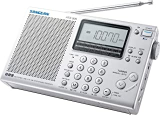 Sangean ATS 405 多频带收音机(FM/MW/SW 调谐器,ATS,工作站内存,时钟,闹钟,耳机插孔),银色,内含