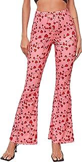 SOLY HUX 女式心形印花弹性高腰喇叭裤喇叭裤