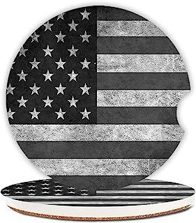 黑灰色美国国旗吸水杯架汽车杯垫,陶瓷石饮料杯垫套装男女男士 6.5 厘米(2 件装)