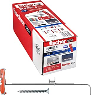 Fischer 25 个销钉,适用于石膏板 DUOTEC 10 S,带螺丝,锚固定,适用于面板和板材的高负载,孔 10 毫米,540178
