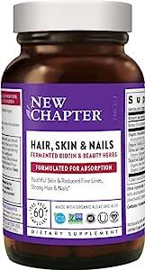 New Chapter 毛发皮肤维生素 发酵生物素+虾青素 - 素食胶囊(包装可能不同),60粒(1件装)