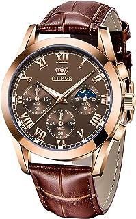 OLEVS 男式石英手表,商务休闲时尚模拟腕表经典日历日期窗口,防水 30M 防水舒适皮革手表