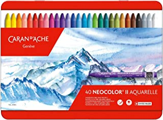 Caran d'Ache 创意艺术材料,水溶性蜡笔套装,多色,40件装