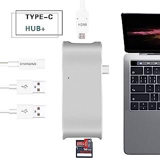 USB C 集线器,Sunteck Type C 适配器 4k HDMI,SD + Micro 读卡器和 2 个 USB 3.0 端口,适用于 MacBook 2017/2016、MacBook Pro 2017/2016、Google Chr...