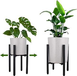 金属植物支架花架可调节宽度适合 25.4 厘米至 40.6 厘米,现代室内中世纪植物支架,室内和室外植物支架 (1)