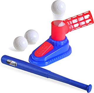 Tee Ball 儿童球套装,棒球投球机,配有 1 个踏上棒球投球玩具,1 个弹性棒球球棒和 3 个棒球塑料球,适合幼儿户外玩具