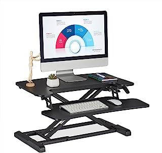 Relaxdays 高度可调节的桌面附件,带键盘托盘,坐立办公桌,宽x深:72 x 59 厘米,黑色