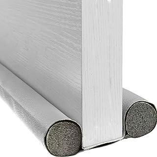 BAINING 双挡板,双面门下窗底部密封条噪音阻隔器,37 英寸(约 98.9 厘米)可水洗可切割皮革管填充 EPE 适用于室内门和窗户挡板,灰色