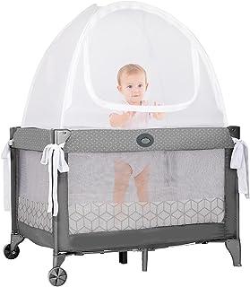 Pro Baby *婴儿床帐篷,适用于迷你婴儿床和打包玩耍   优质网眼防止幼儿爬出婴儿床   弹出式遮阳篷和*缓冲垫 - 铂金标签,几何立方体图案