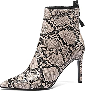 Jimishow 女式及踝靴细高跟经典尖头高跟短靴后拉链性感舒适时尚高跟鞋