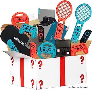 Ultimate Accessories Bundle 兼容 Nintendo Switch - 21 合 1 基本套件,包括(温度玻璃屏幕保护膜、旅行手提箱、Joy Con 充电底座、握把等)