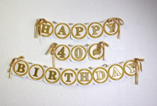 All About Details Gold Happy 40 岁生日横幅