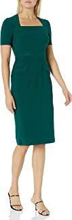 Maggy London 女式纯色绉纱短袖紧身衣