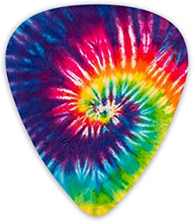 Guitar Picks Unique Tye Dye Art Guitar Plectrums 优质拨片样品独特吉他礼品,适合原声电曼陀林和贝斯吉他(12 件装包括薄中重型计)