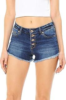 Celebrity Pink Jean 女式青少年中腰磨边短裤