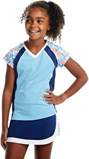 街头网球俱乐部女孩网球和高尔夫衬衫带裙子蓝色花卉尺码 S - XL | 可机洗,透气面料
