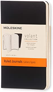 Moleskine Volant 日记,软封面,大号(12.7 cm x 20.32 cm)纯色/空白,浅蓝色 褶边 XS 黑色