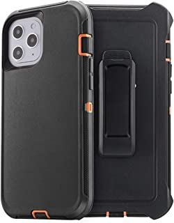 AICase 适用于 iPhone 12 Max/iPhone 12 Pro 皮带夹皮套保护套,摔落保护全身坚固重型手机壳,防震/防摔/防尘 4 层坚固耐用手机壳,适用于 Apple iPhone 12 Max/Pro