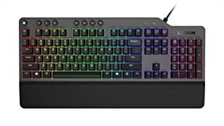 Lenovo 联想 Legion K500 RGB 机械游戏键盘,3 区全尺寸键盘,7 个用户可编程热键;1680 万色 RGB 色彩,50 万个点击红色机械按键,可拆卸手掌托