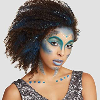 美人鱼临时纹身和宝石套装 50 件用于面部和颈部万圣节服装装扮