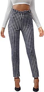 DIDK 女式高纸袋腰围格子紧身裤,条纹工作裤