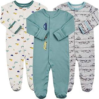 婴儿连脚睡衣 带连指手套 - 3 件婴儿女孩男孩连脚服连体睡衣新生儿棉质睡衣
