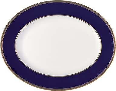 Wedgwood 文艺复兴椭圆形金边汤盘,13.75英寸(约34.93厘米)