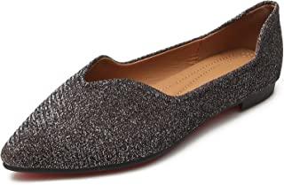 URELEGAN 女式尖头正装平底鞋闪亮皮革芭蕾平底鞋