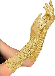 Widmann 34315 - 褶皱缎面手套,含氨纶成分,金色,1 对,长度 44 厘米,配饰,20 年代,主题派对,嘉年华