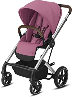 Cybex Balios S Lux 婴儿推车,正面朝上,或面向父母的座位,一手折叠,多位置倾斜,可调节的人造革婴儿手推车,适用6个月以上的宝宝,木兰粉红色