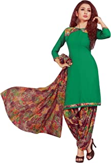 ladyline 女式即穿Salwar Kameez 人造绉纱印花印度缝制纱丽西装 Green (33) Plus-1X_(50)