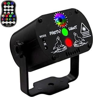 EEEKit Disco RGB LED 舞台灯,DJ 派对光束声控闪光灯投影机带遥控器,多种图案音乐灯,带 USB 线,适用于家庭酒吧舞蹈派对(无适配器)