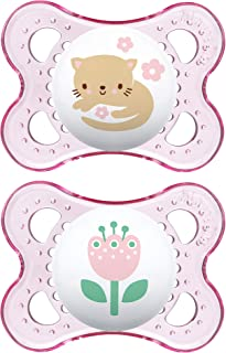 MAM 透明系列奶嘴(2 只装,1 个*奶嘴盒),MAM 安抚奶嘴,0-6 个月婴儿奶嘴,女婴,*喂养婴儿的*佳奶嘴