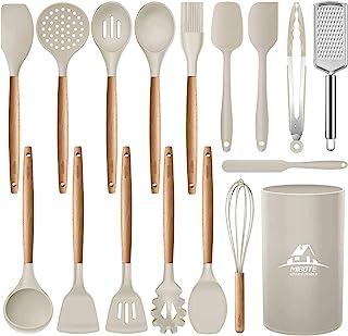 MIBOTE 12 件硅胶烹饪厨房餐具套装带支架,木手柄烹饪工具,不含双酚A *锅铲铲勺,厨房小工具套装,不粘锅厨具(*) 3-黑色 M-CJ-11-GREY