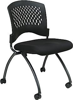 Office Star 豪华透气塑料背面 FreeFlex 煤炭座椅无扶手折叠椅带脚轮,2 件装,钛涂层