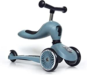 Scoot & Ride - Highwaykick 1 Children Adjustable Seated or Standing 2-in-1 Scooter Including Safety Pad for Tip Prevention - for Ages 1-5