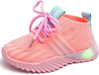 Mictchz 男婴女童 LED 灯鞋运动鞋柔软网眼针织发光鞋轻质透气儿童跑鞋*学步运动鞋适合幼儿/小孩