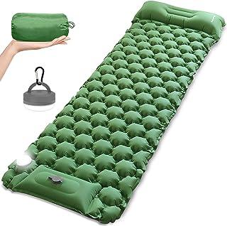 充气睡垫,露营用 LED 露营灯笼,MOUNTDOG 超轻充气背包垫垫气垫,适合徒步旅行帐篷,露营灯带 5 种灯光模式,手柄和登山扣