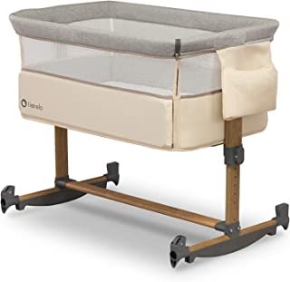 Lionelo Leonie 婴儿床 婴儿摇摆功能 5 级高度调节 斜床垫 可拆卸侧壁 轮子侧袋(米色)