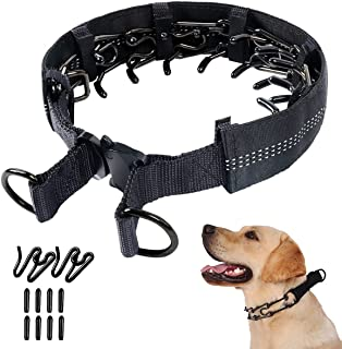 Mayerzon Prong 项圈,狗狗夹紧训练项圈,带反光盖,可调节不锈钢锁圈,带快速释放金属战术扣,适用于小型中大型犬
