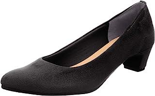 [一段舒适] 日本产 4cm高跟浅口鞋 黑色 女式 绒面革 IM39522