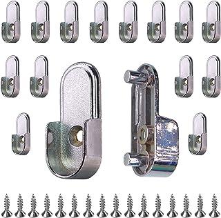 HDbonemu 16 件 15 毫米 x 30 毫米椭圆形衣柜杆端支架(单孔),后向 6.5 毫米针脚