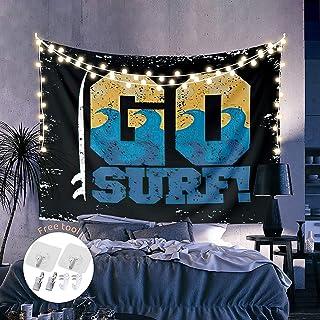 夏季海洋挂毯房间装饰,壁挂式墙饰毯,去冲浪海洋运动冒险卧室,客厅艺术,宿舍,浴室装饰 -59 英寸 x 39 英寸