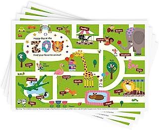 一次性粘贴餐垫 40 个装,适用于婴幼儿,餐厅餐桌垫垫 30.48 厘米 x 45.72 厘米粘性餐垫,幼儿婴儿餐垫快乐动物园主题