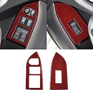 YAMUDA 兼容碳纤维车窗升降开关面板装饰贴纸内饰配件适用于斯巴鲁 BRZ 丰田 86 2016 2017 2018 2019 2020(2 件红色)