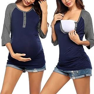 Ekouaer 女式孕妇护理上衣 3/4 袖*喂养亨利汗衫柔软 T 恤棒球 T 恤(S-XXL)