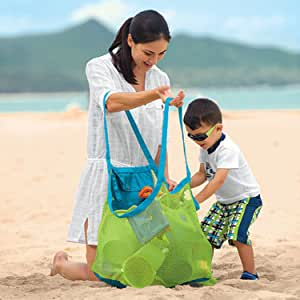 TFY Large & Portable Family Size Beach Mesh Bag Tote Organizer ?? Great for Toys, Balls and Beach Items