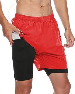 FEDTOSING 男式 2 合 1 跑步短裤速干Althectic 健身短裤,带拉链口袋