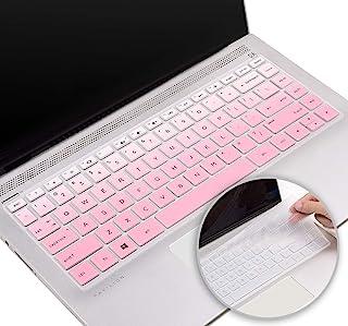 硅胶键盘保护套适用于 HP Pavilion x360 14 英寸,2020 2019 2018 HP 14 英寸笔记本电脑键盘保护膜,HP 14 英寸系列键盘配件(粉色+透明)